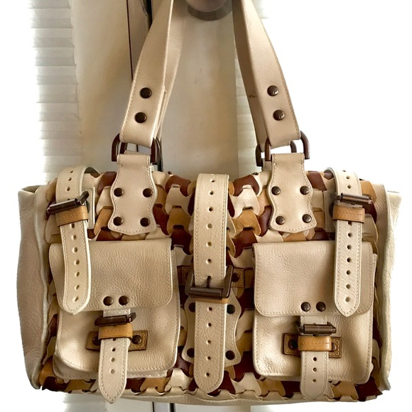 307ba9204d Mulberry Bags | Woven Leather Cream Tan And Brown Bag | Poshmark